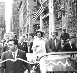 UNITED STATES - OCTOBER 19:  Sen. John F. Kennedy and his wife, Jackie, wave to crowds as they proceed up lower Broadway in a parade.  (Photo by Frank Hurley/NY Daily News Archive via Getty Images)