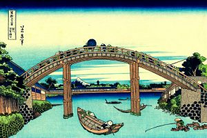 Wooden bridge by Katsushika Hokusai, color woodcut, 1830-1833